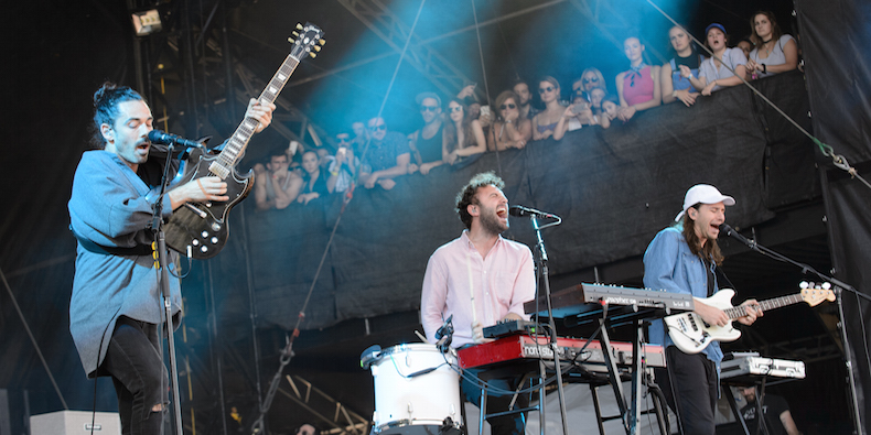 AUSTIN, TX - OCTOBER 09: Taylor Rice, Kelcey Ayer and Nik Ewing of Local Natives performs live at Austin City Limits Festival at Zilker Park on October 9, 2016 in Austin, Texas. (Photo by Jim Bennett/FilmMagic)